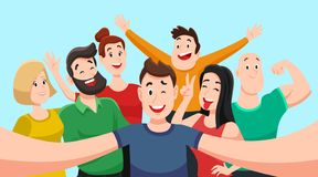 People group selfie. Friendly guy makes group photo with smiling friends on smartphone camera in hands vector cartoon. People group selfie. Friendly guy makes royalty free illustration