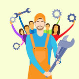 People Group Service Technical Support Team Hold Stock Photography
