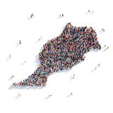 People group shape map Morocco. Large and creative group of people gathered together in the form of a map Morocco, a map of the world. 3D illustration, isolated stock image