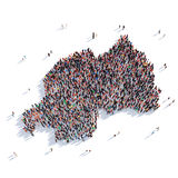People group shape map Rwanda Stock Photos