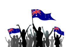 People Group Silhouette Crowd Hold Australia Flag Royalty Free Stock Photography