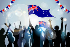 People Group Silhouette Crowd Hold Flag  Australia Stock Images