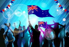 People Group Silhouette Crowd Hold Flag  Australia Royalty Free Stock Photos