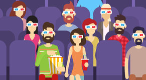 People Group Sit Watching Movie In Cinema 3d Glasses With Popcorn Cola Stock Photography