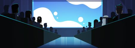 People group sitting cinema rows back rear view mix race crowd watching movie premiere on screen dark hall background. Flat horizontal banner vector stock illustration