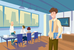 People Group Sitting Classroom Student Desk University Lecture, Business Seminar. Flat Vector Illustration Stock Images