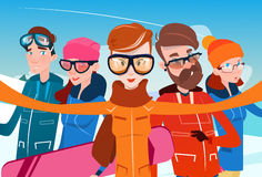 People Group With Ski Snowboard Take Selfie Photo Winter Activity Sport Vacation Royalty Free Stock Image