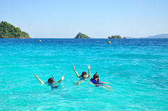 People group with snorkel on ocean stock photography