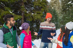 People Group Snow Forest Happy Smiling Young Friends Walking Outdoor Winter Royalty Free Stock Photography