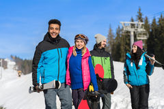 People Group With Snowboard And Ski Resort Snow Winter Mountain Friends Communication Stock Photos