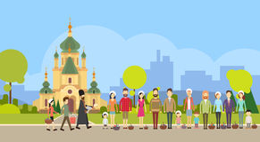 People Group Stand In Line, Priest Blessing Easter Basket Church, Consecrate Cakes, Eggs Happy Holiday. Banner Flat Vector Illustration Royalty Free Stock Images
