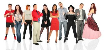People group standing, collage Stock Photos