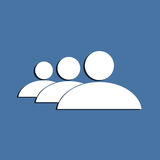 People group symbol. On a blue background. Flat design element Royalty Free Stock Image