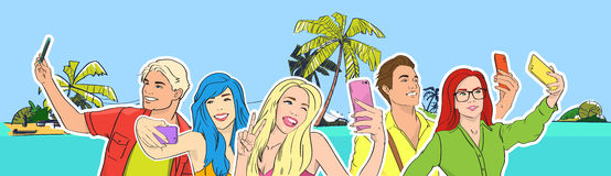 People Group Take Selfie Photo Beach Cell Smart Phone Royalty Free Stock Photo