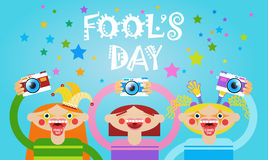 People Group Taking Photo First April Fool Day Happy Holiday Greeting Card. Flat Vector Illustration Stock Images