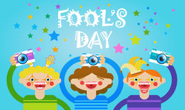 People Group Taking Photo First April Fool Day Happy Holiday Greeting Card. Flat Vector Illustration Stock Image