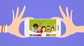 People Group Taking Selfie Photo On Smart Cell Phone. Smart Cell Phone People Group Taking Selfie Photo Flat Vector Illustration Stock Image