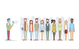 People Group Team With Leader Holding Megaphone Hipster Casual Clothes Royalty Free Stock Images