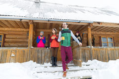 People Group On Terrace Holding Cup Hot Coffee Tea Wooden Country House Winter Resort Royalty Free Stock Photo