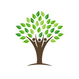 People group tree logo with leaves, trunk and hands