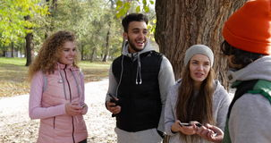 People Group Using Smart Phone Outdoor, Two Couple Speaking Network Communication Morning Autumn Park Near Tree. Young People Group Using Smart Phone Outdoor stock footage