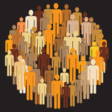 People group. Vector illustration of large people group in round Royalty Free Stock Image
