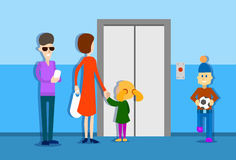 People Group Waiting Elevator House Interior Royalty Free Stock Photography
