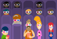 People Group Watching Movie in Cinema 3d Glasses Stock Photos