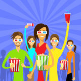 People Group Watching Movie in Cinema 3d Glasses. With Popcorn Flat Vector Illustration Royalty Free Stock Photo