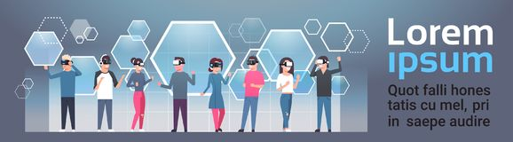 People Group Wearing Vr Goggles Virtual Reality Glasses Over Abstract Background With Copy Space. Flat Vector Illustration Royalty Free Stock Image