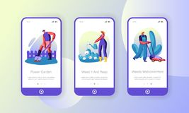 People Growing, Planting and Caring of Plants in Garden Concept for Website or Web Page. Watering Flowers, Mow Lawn, Dig Soil. Hobby Mobile App Page Onboard royalty free illustration