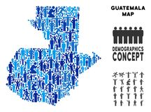 People Guatemala Map. Vector population Guatemala map. Demography concept of Guatemala map made of crowd with different positions. Demographic map in blue tinges stock illustration