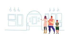 People with guide at exhibition in contemporary art gallery museum excursion trip concept visitors looking at wall with. Exposition sketch doodle horizontal vector illustration