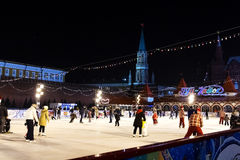 People at GUM-Skating rink on Red Square . Moscow . Royalty Free Stock Image
