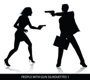 People with gun silhouettes. Vector silhouettes  of people with gun isolated on white background Royalty Free Stock Images