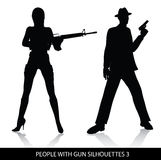 People with gun silhouettes. Vector silhouettes  of people with gun isolated on white background Stock Photos