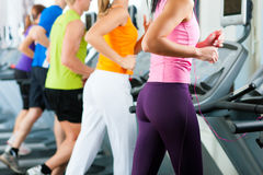 People in gym on treadmill running Royalty Free Stock Photography