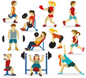 People at the gym(various sports activities) Royalty Free Stock Photos