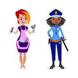 People hairdresser and police officer different professions vector illustration. Royalty Free Stock Photos