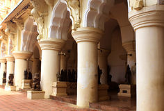 People hall with stone sculptures the thanjavur maratha palace Royalty Free Stock Images