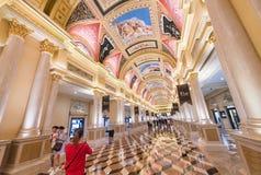 People in hall of Venetian Macao hotel and casino resort in Maca Stock Photos