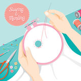 People Hand Darning Clothes In Embroidery Hoop Royalty Free Stock Photos