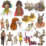 People - An hand drawn pack, colored line art Stock Image
