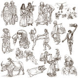 People - An hand drawn pack, line art Stock Images