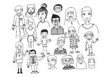 People hand drawn  and people Sketch by pen Stock Photography