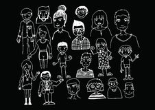 People hand drawn  and people Sketch by pen Stock Images