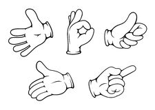 People hand gestures. Set in cartoon comics style Royalty Free Stock Photos