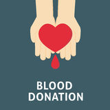 People Hand Giving Love Against Blood Donation. People Hand with Love in his Hand and drops of blood Stock Image