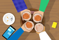 People Hand Group Hold Beer Glasses Bar Table Cheers Royalty Free Stock Photos