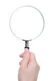 People hand holding classic magnifying glass Stock Photos